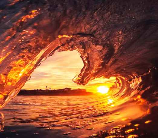 frozen wave against sunlight